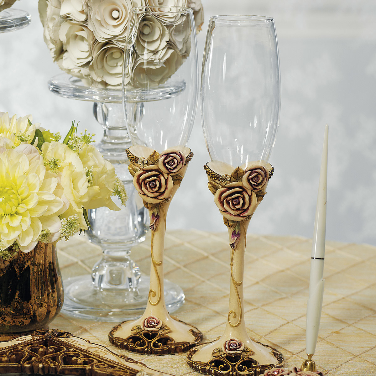 Vintage-Rose-Wedding-Toasting-Champagne-Flute-Glass-9293